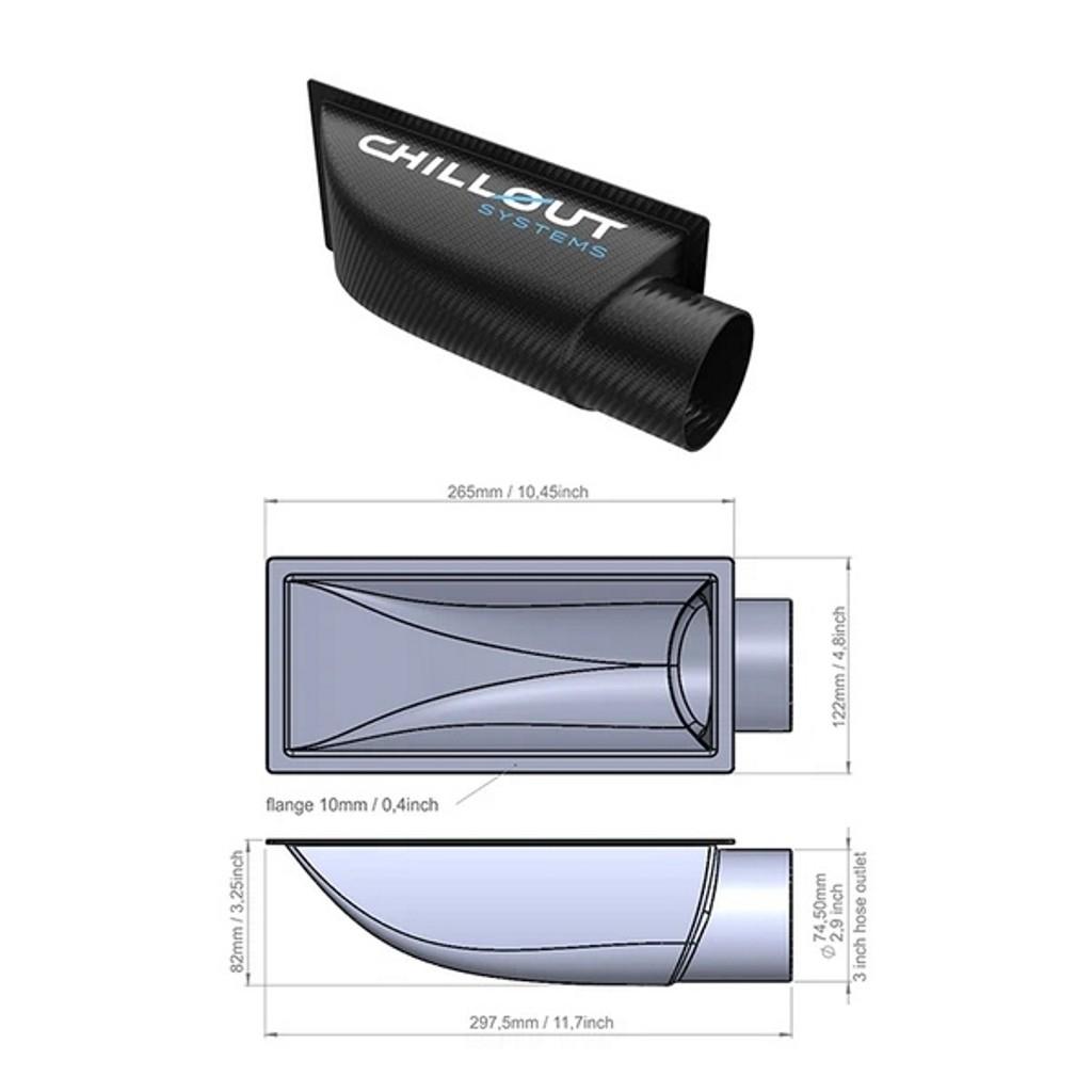 """3"""" Air Plenum - Carbon Fiber"""